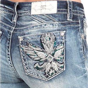 Miss Me Wing Embellished Pocket Easy Skinny Jeans